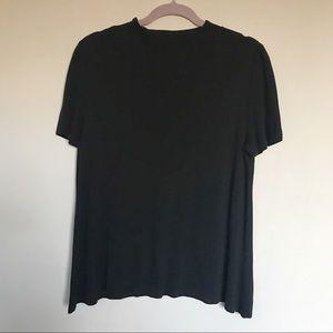 Eileen Fisher Black Short Sleeve Mock Neck Top L